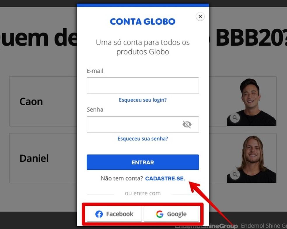 Log in or register at Globo Photo: Reproduo / Helito Beggiora