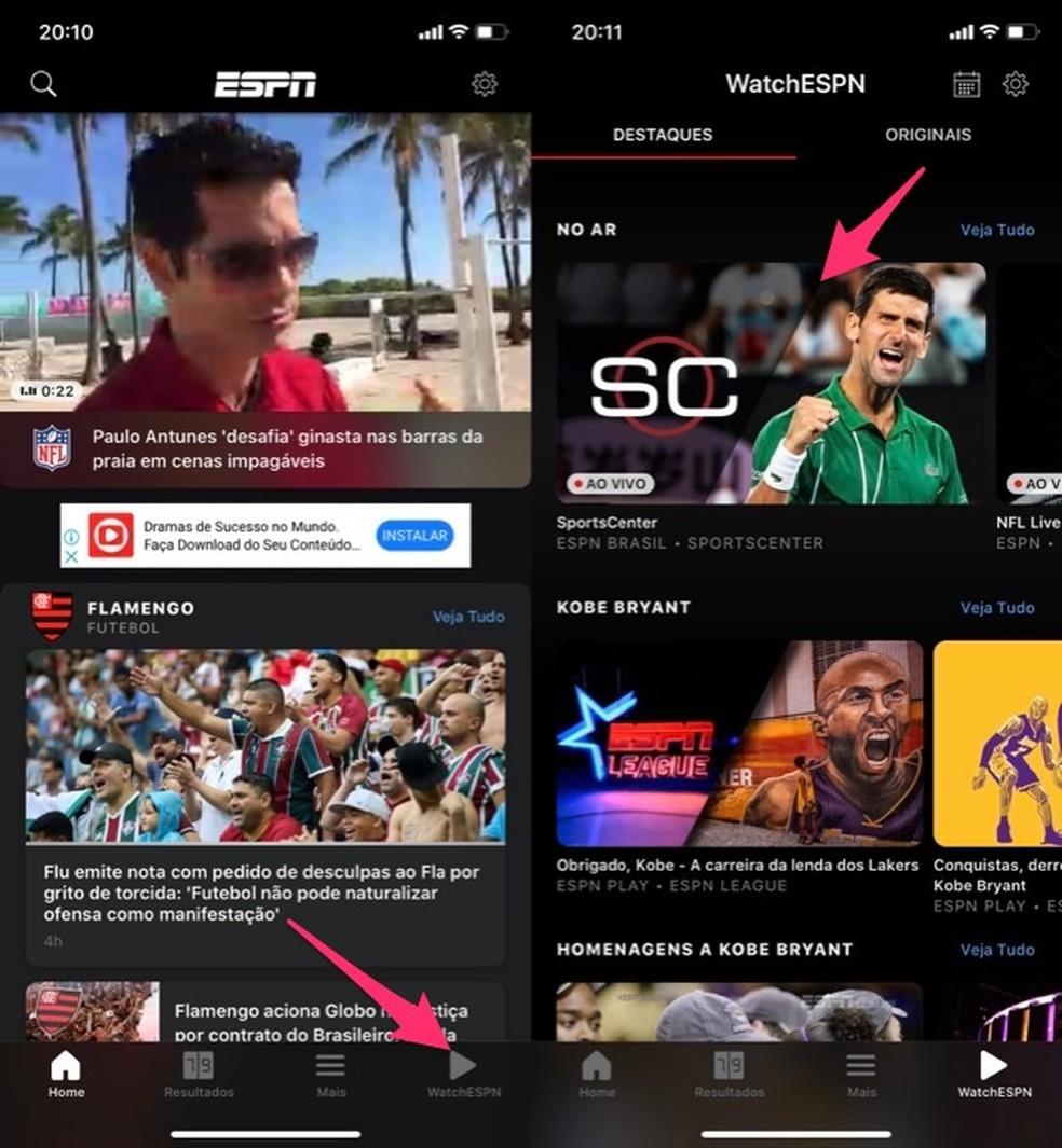 When to open the ESPN Watch application login screen Photo: Reproduo / Marvin Costa