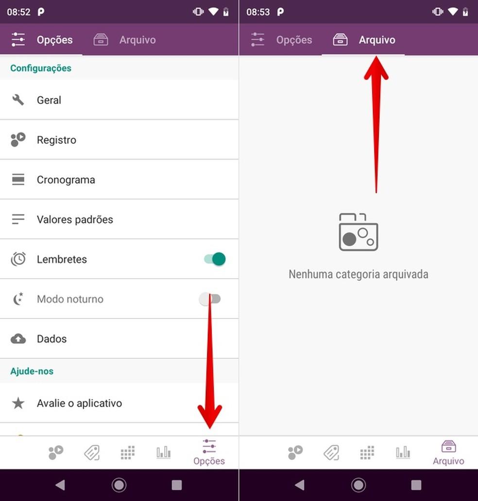 Accessing the organization app's settings and file Photo: Reproduo / Helito Beggiora