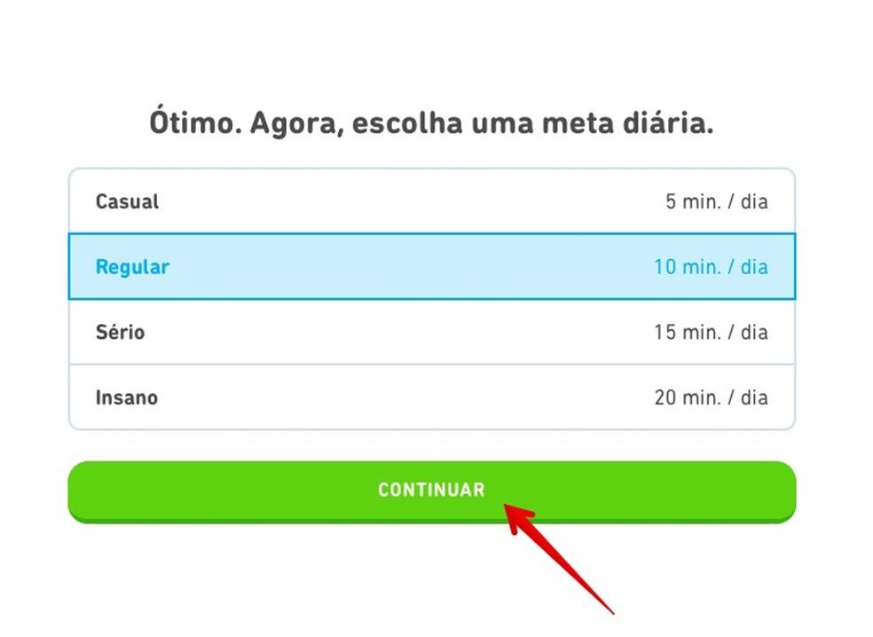 Duolingo initial configuration Photo: Reproduo / Helito Beggiora