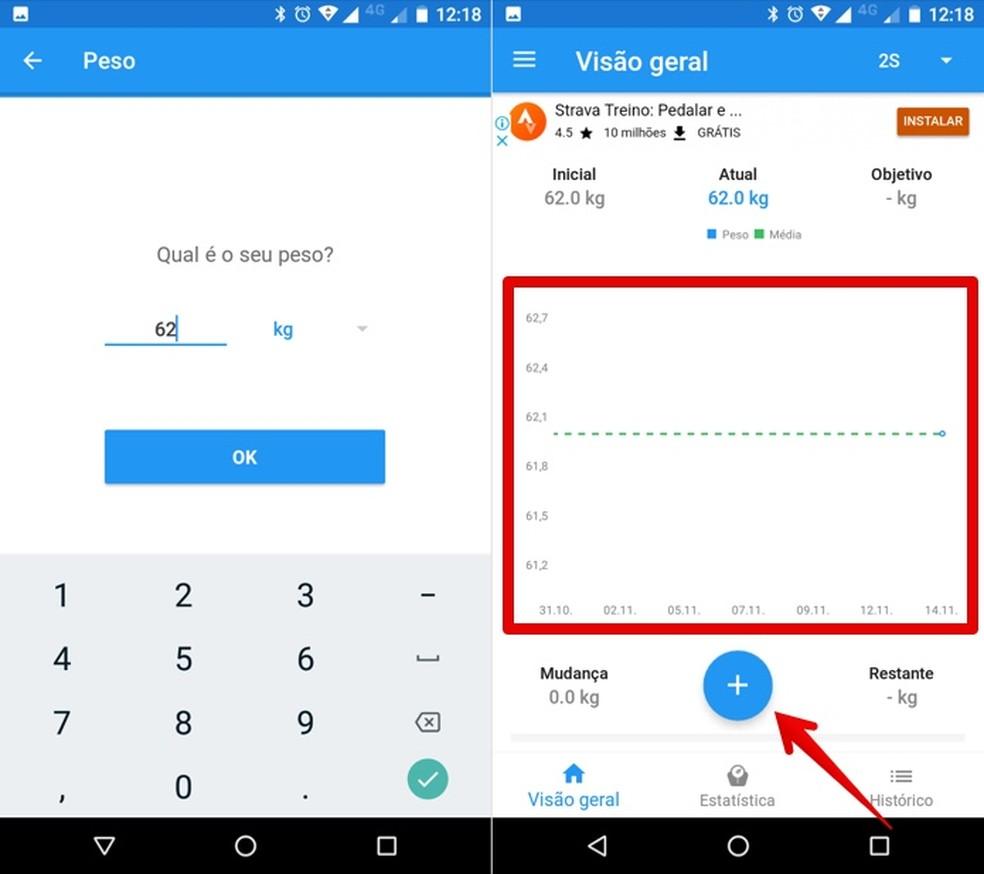 User can add new records daily in the BMI Calculator app Photo: Reproduo / Helito Beggiora