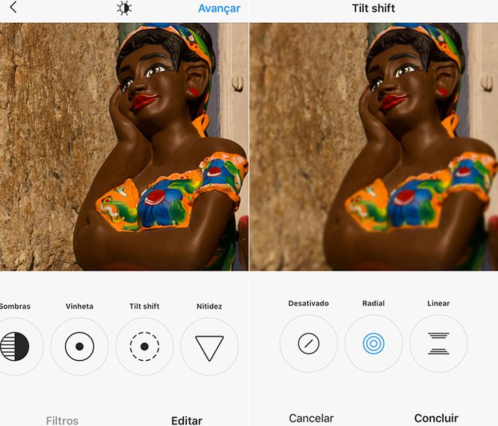 Instagram's tilt shift provides a slight image blur, achieving a very delicate result Photo: Reproduo / Amanda de Almeida