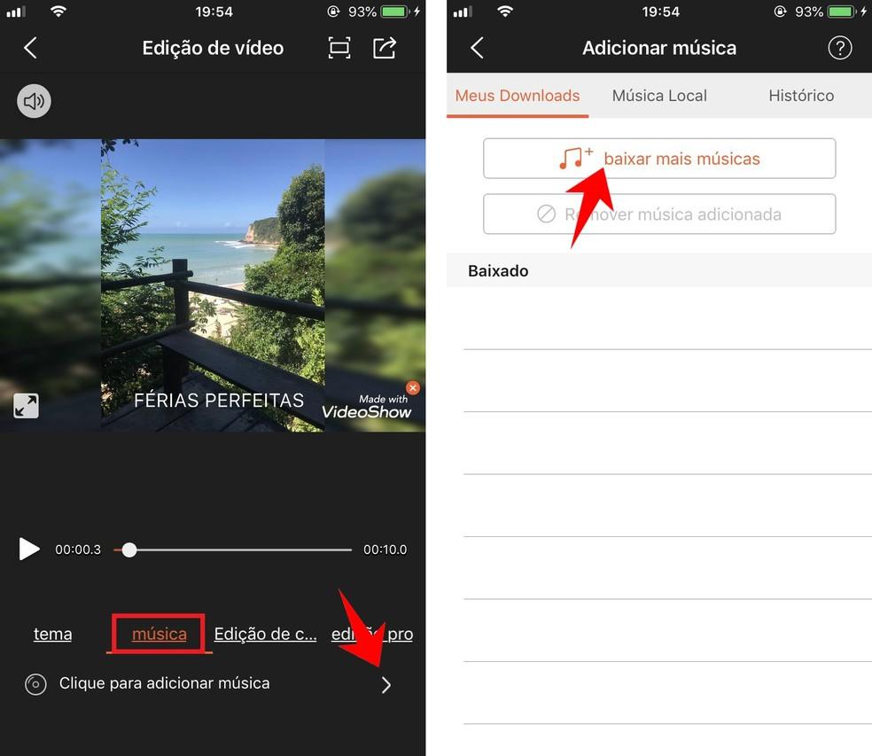 VideoShow allows you to add music to the video soundtrack Photo: Reproduo / Rodrigo Fernandes