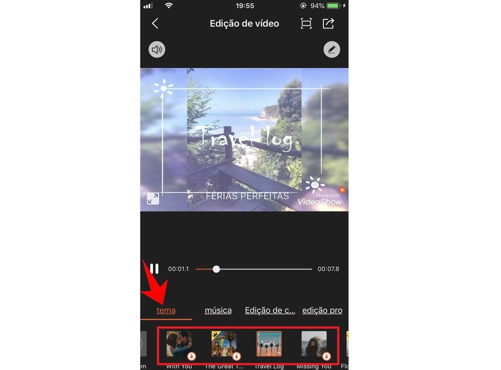 VideoShow has its own themes to customize the videos Photo: Reproduo / Rodrigo Fernandes