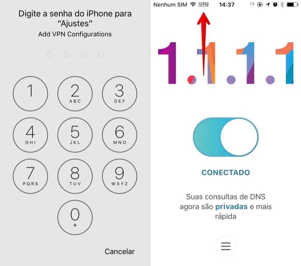 Activate CloudFlare VPN on iPhone Photo: Reproduo / Helito Beggiora