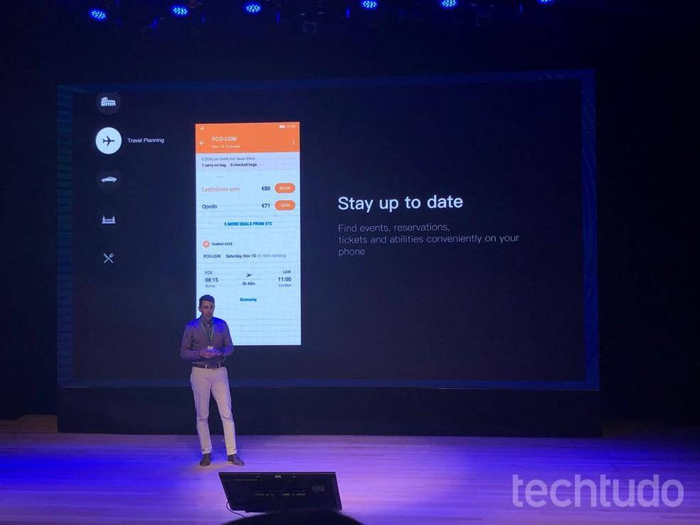Daniel Dias, Go To marketing manager for the brand, presents Huawei Assistant Photo: Pedro Vital / TechTudo