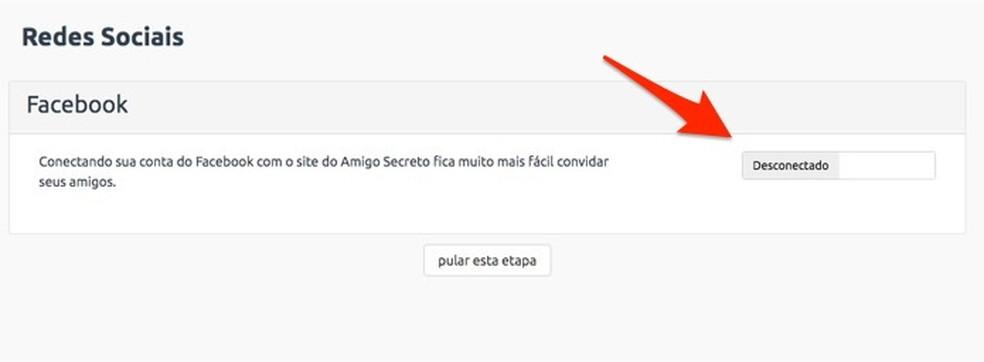 When starting to integrate with a Facebook account on the Amigo Secreto website Photo: Reproduo / Marvin Costa
