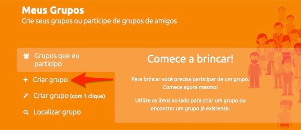 Action to start creating a group on the Amigo Secreto website Photo: Reproduo / Marvin Costa