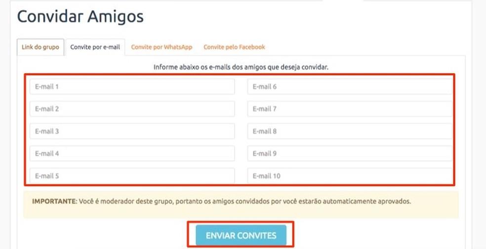 Options to invite friends to a group created on the site Amigo Secreto Photo: Reproduo / Marvin Costa