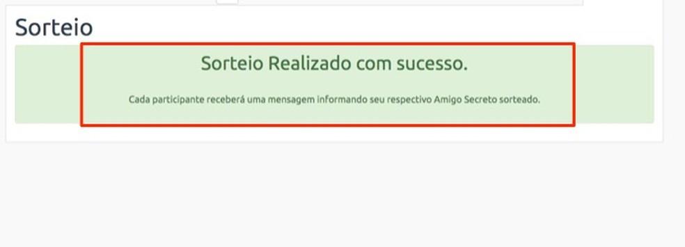 Confirmation of the draw made on the site Amigo Secreto Photo: Reproduo / Marvin Costa