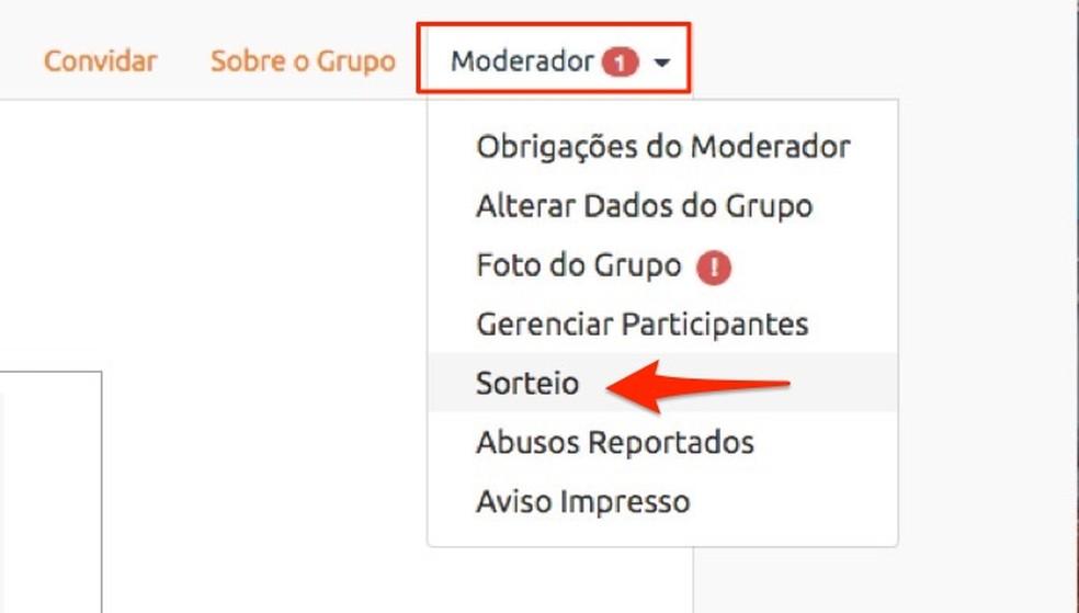 When accessing the draw area of ??the Amigo Secreto website Photo: Reproduo / Marvin Costa