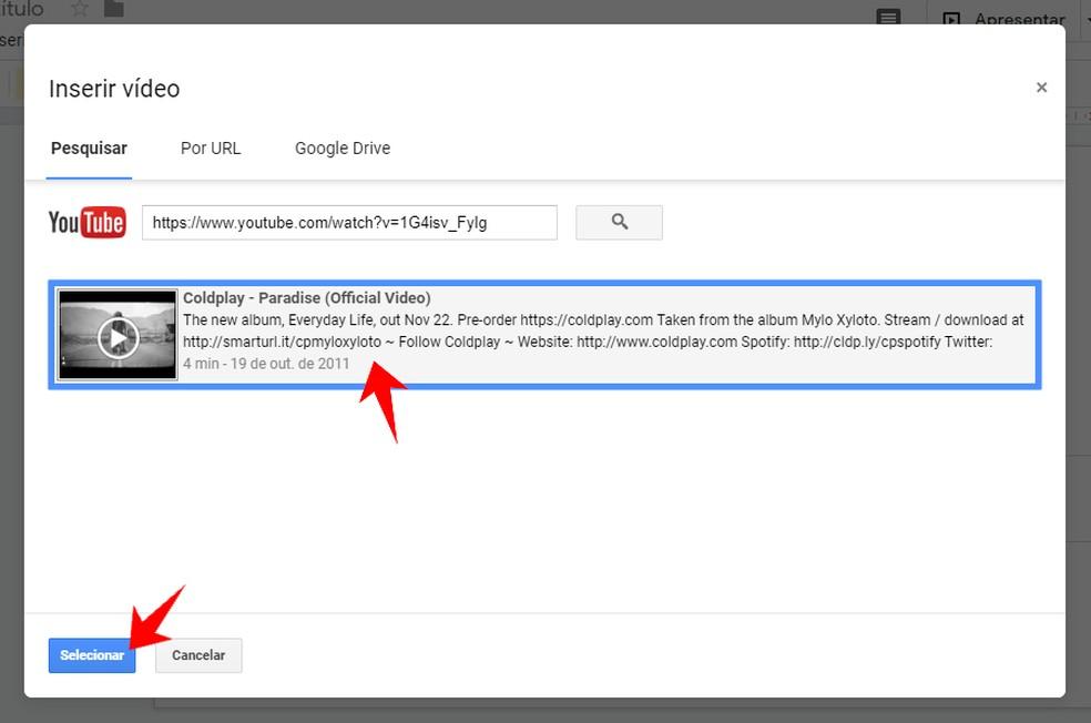 Select the YouTube video to use on Google Slides Photo: Reproduo / Rodrigo Fernandes
