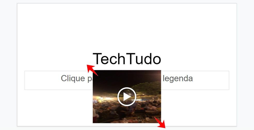 Move the video as you like on the slide Photo: Reproduo / Rodrigo Fernandes