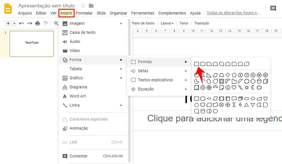 Adding a graphic form in Google Slides presentation Photo: Reproduo / Rodrigo Fernandes