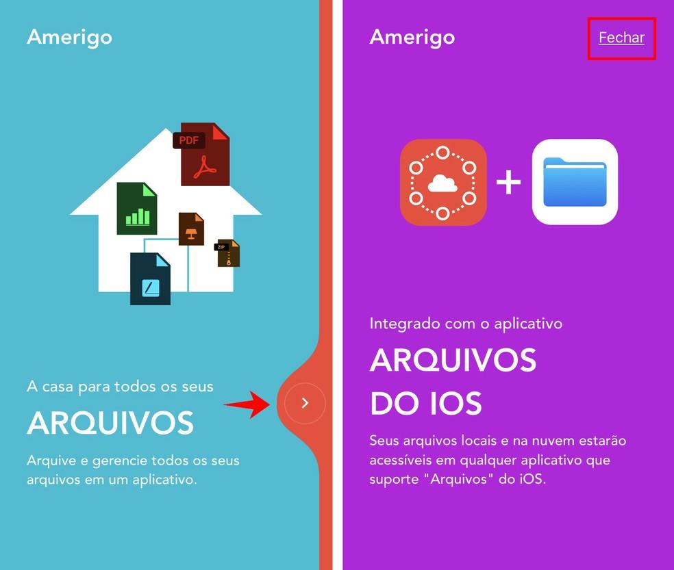 Amerigo File Manager welcome screen Photo: Reproduo / Rodrigo Fernandes