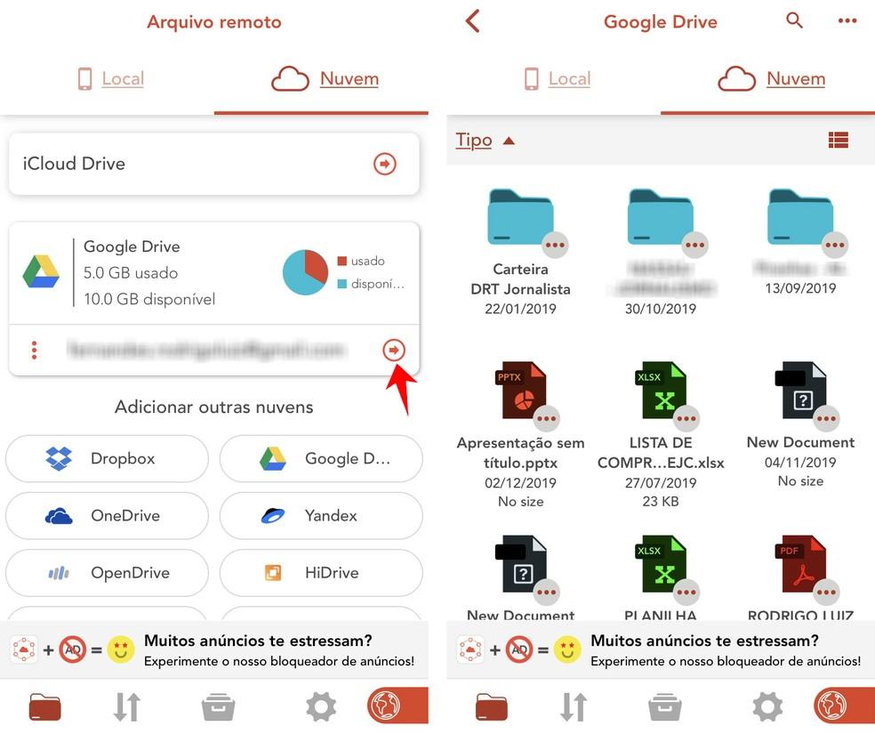 Amerigo File Manager shows all files stored in the cloud Photo: Reproduo / Rodrigo Fernandes