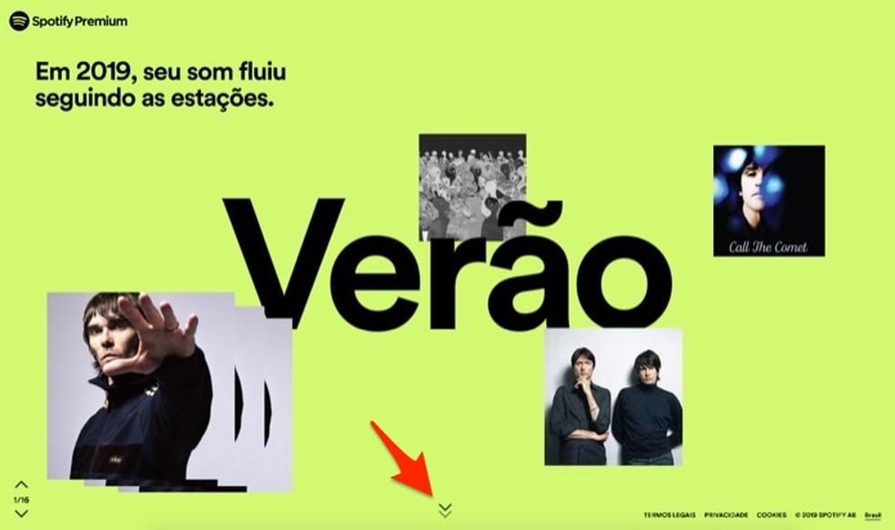 Spotify 2019 retrospective homepage Photo: Reproduo / Marvin Costa