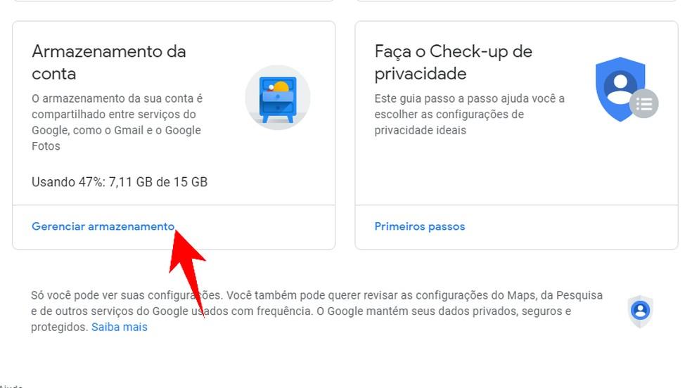 Open the Google Account storage manager Photo: Reproduo / Rodrigo Fernandes