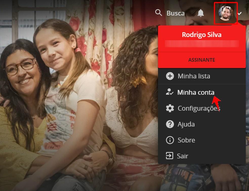 Accessing the Globo Account settings through the Globoplay menu Photo: Reproduo / Rodrigo Fernandes