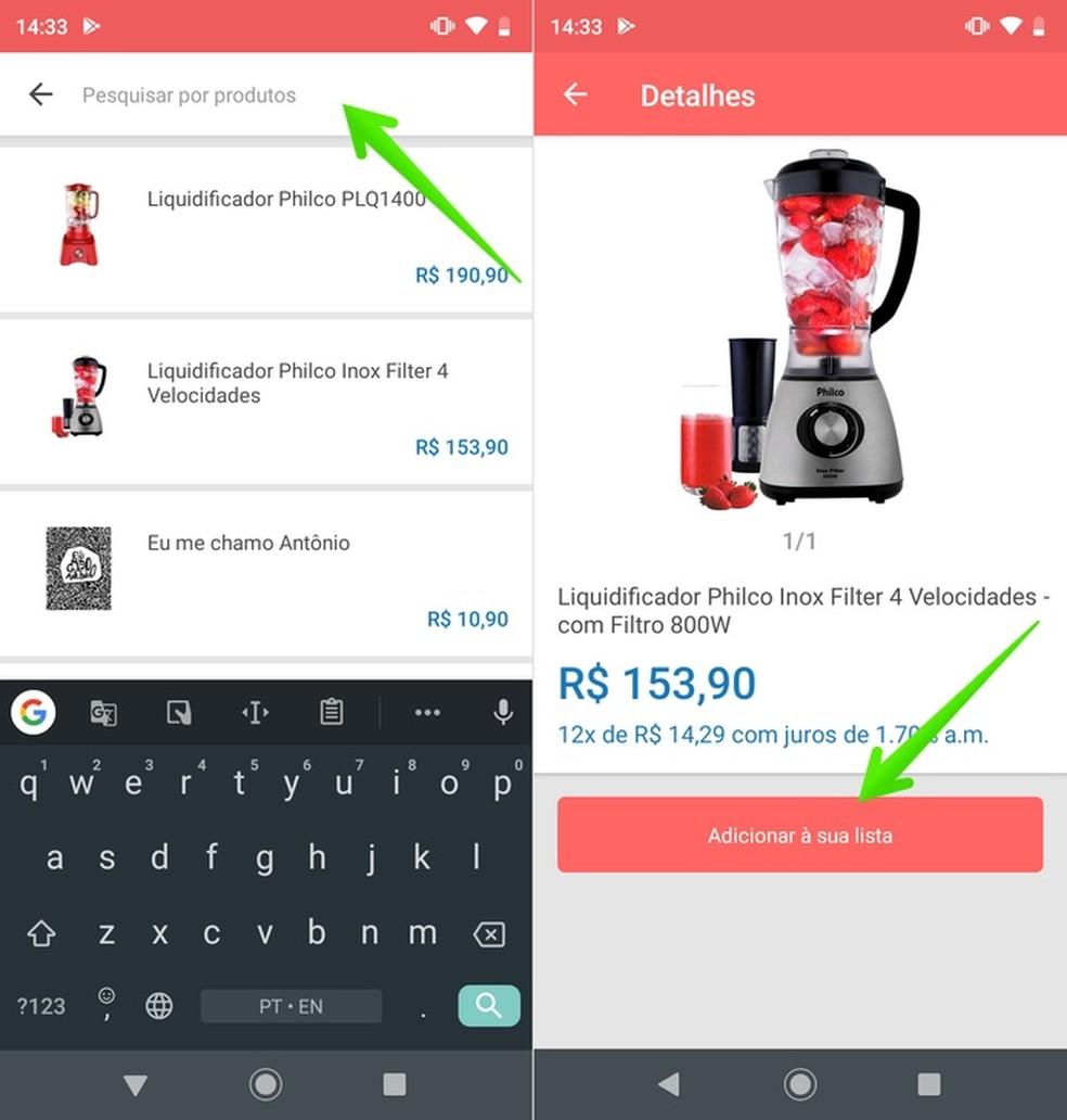 Adding a product list in the Quero de Casamento app Photo: Reproduo / Helito Beggiora