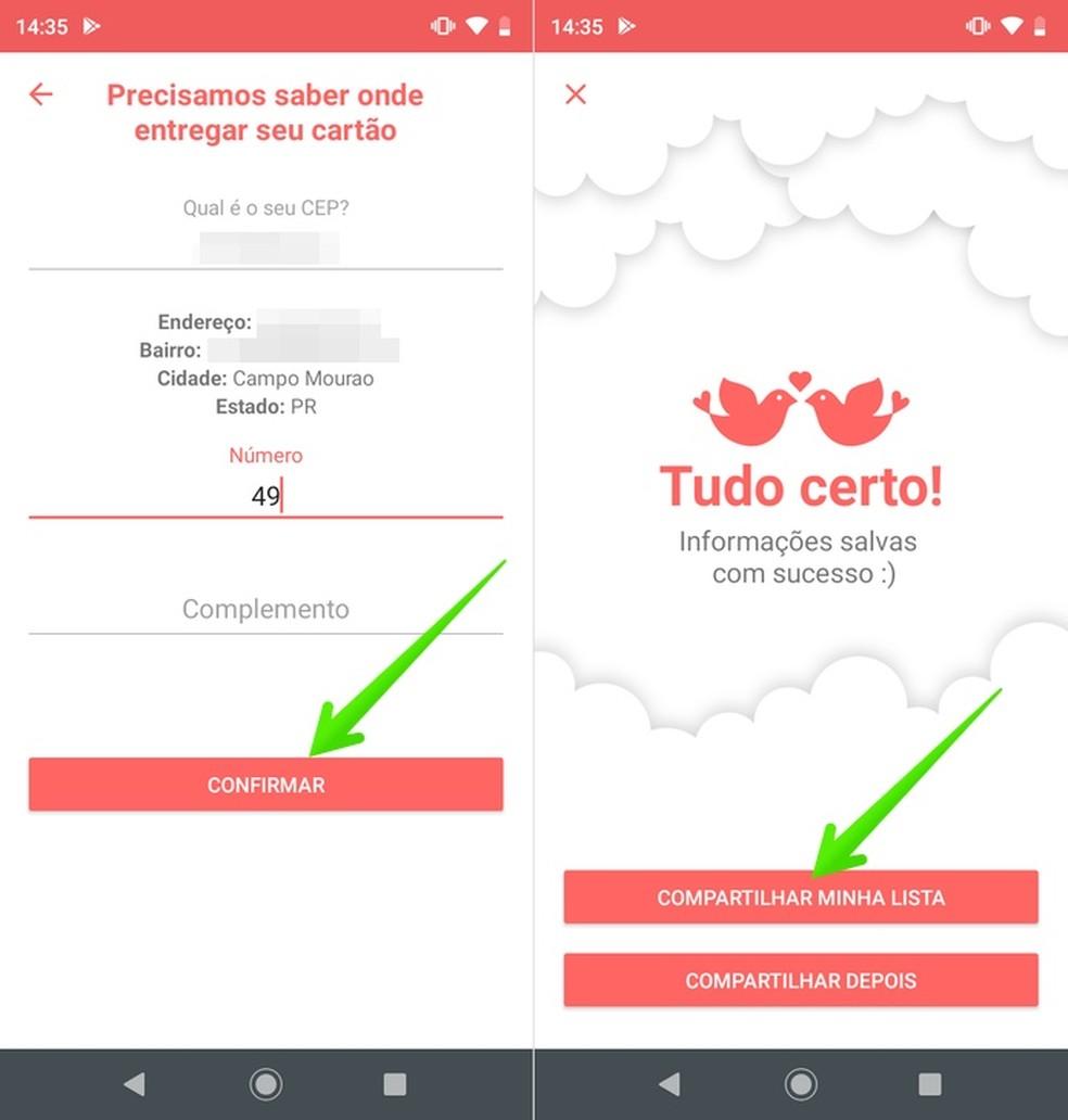 Sharing a wedding list with the Quero de Casamento app Photo: Reproduo / Helito Beggiora
