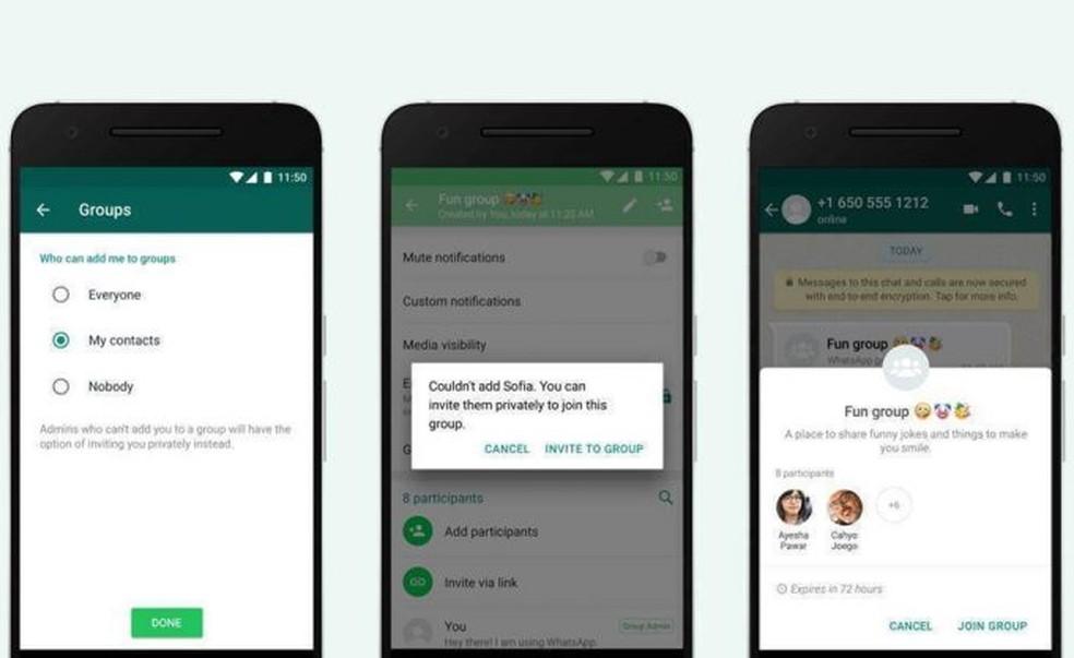 Privacy option for group invitations Photo: Divulgao / WhatsApp
