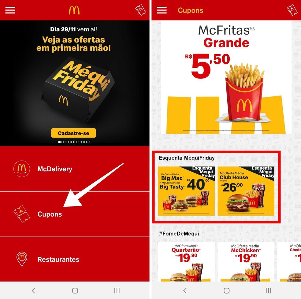 Access the McDonald's app coupon area Photo: Reproduo / Paulo Alves