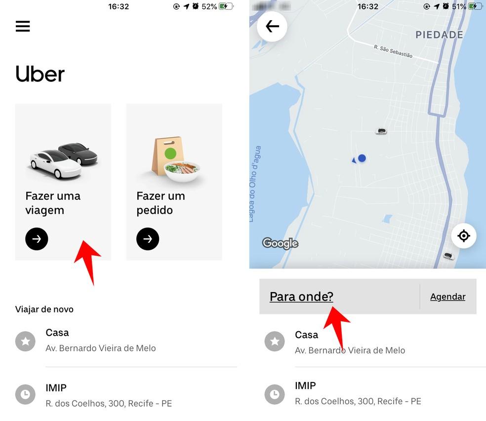 Requesting a ride on the Uber app Photo: Reproduo / Rodrigo Fernandes