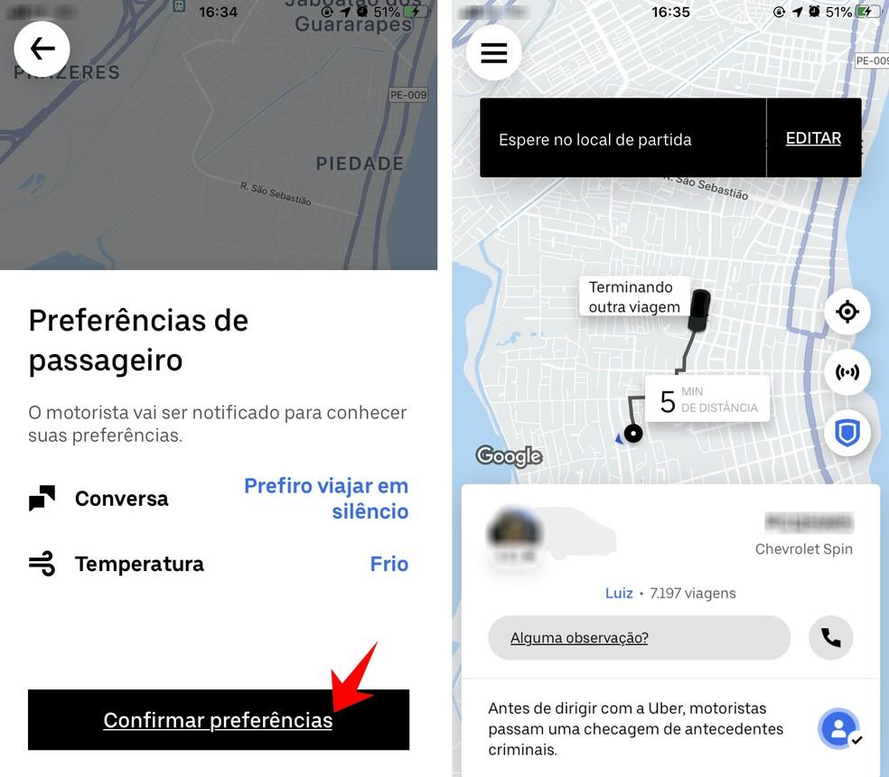 Confirming a trip in the Uber Comfort category Photo: Reproduo / Rodrigo Fernandes