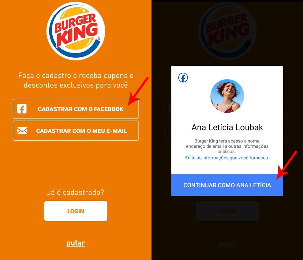 Sign up for the Burger King app Photo: Reproduo / Ana Letcia Loubak