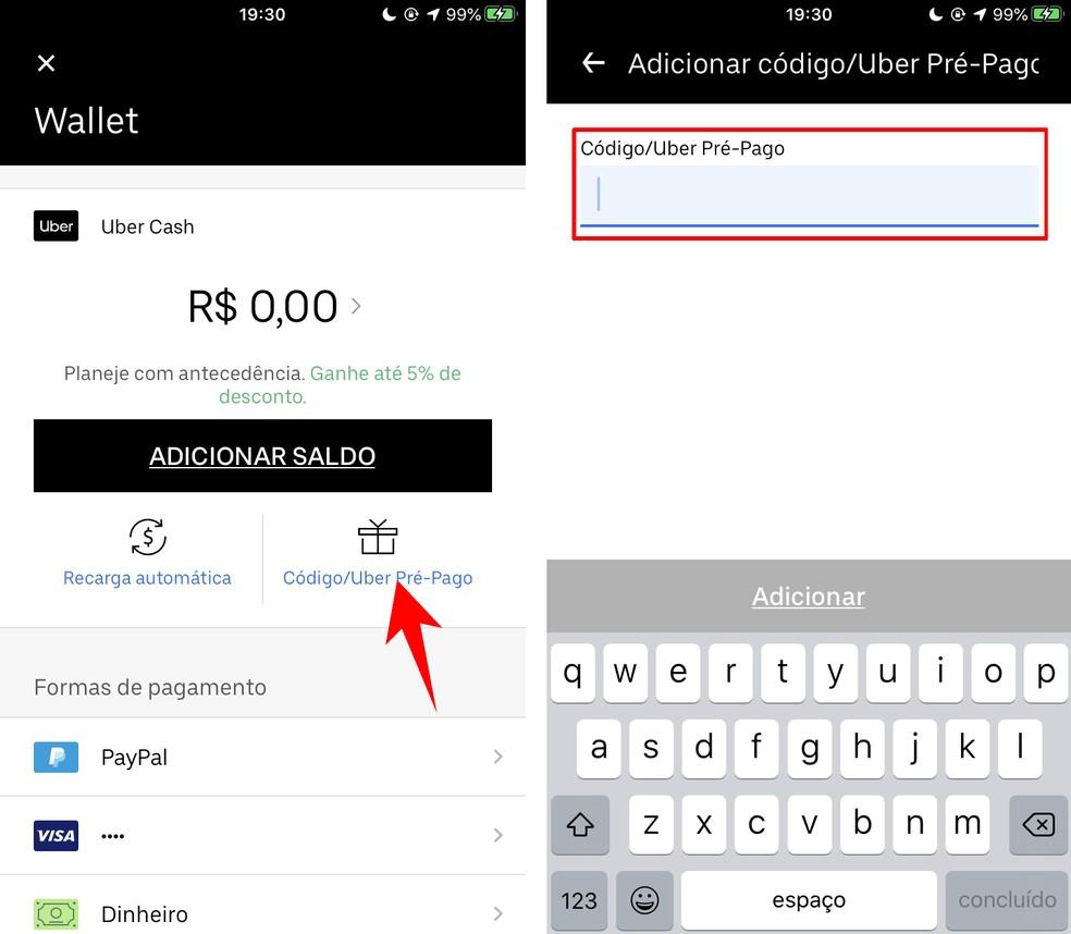 Adding a prepaid card code to the Uber app Photo: Reproduo / Rodrigo Fernandes