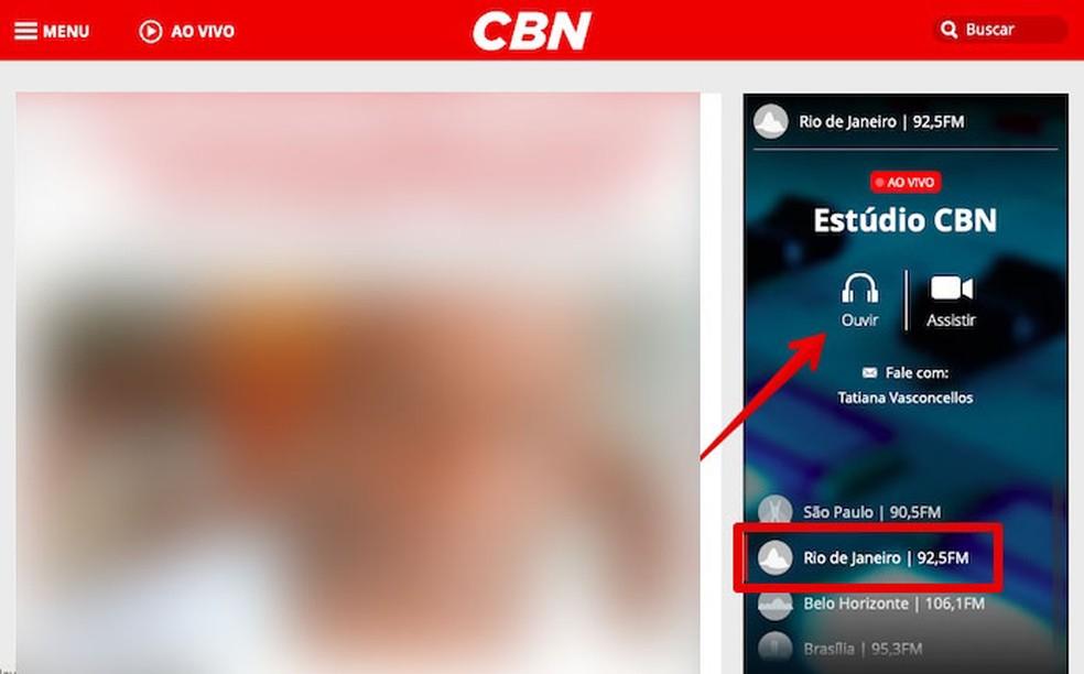 Listening to Rdio CBN live broadcast on PC Photo: Reproduo / Helito Beggiora