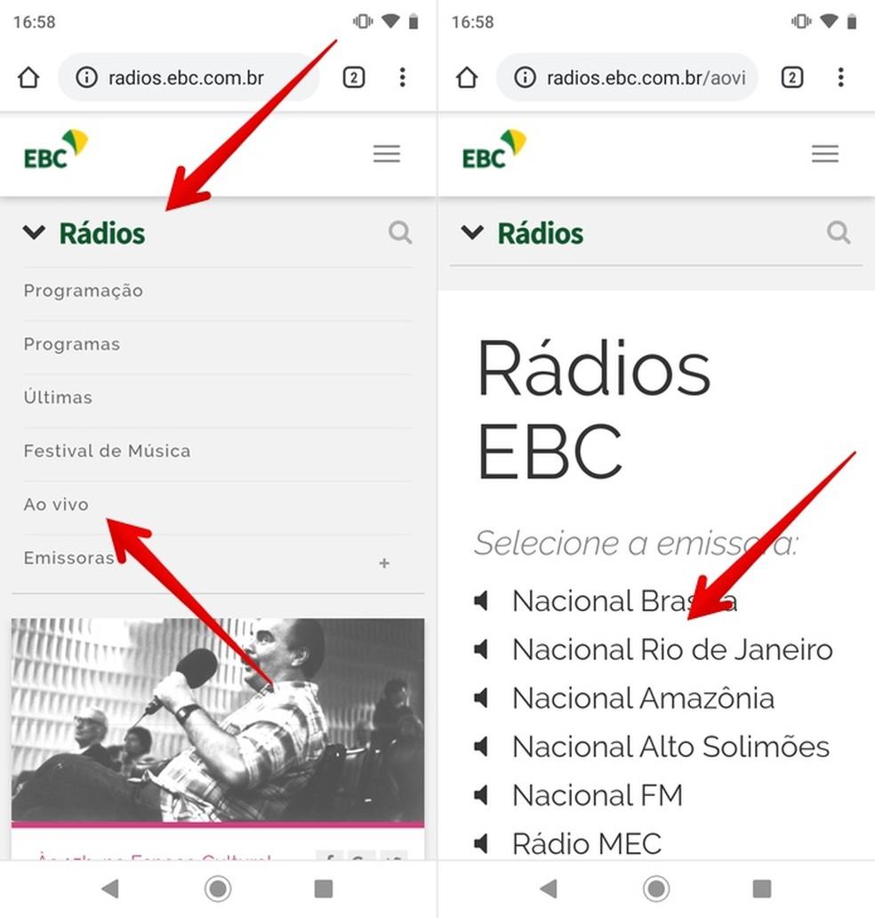 Listening to Rdio Nacional live stream on cell phone Photo: Reproduo / Helito Beggiora