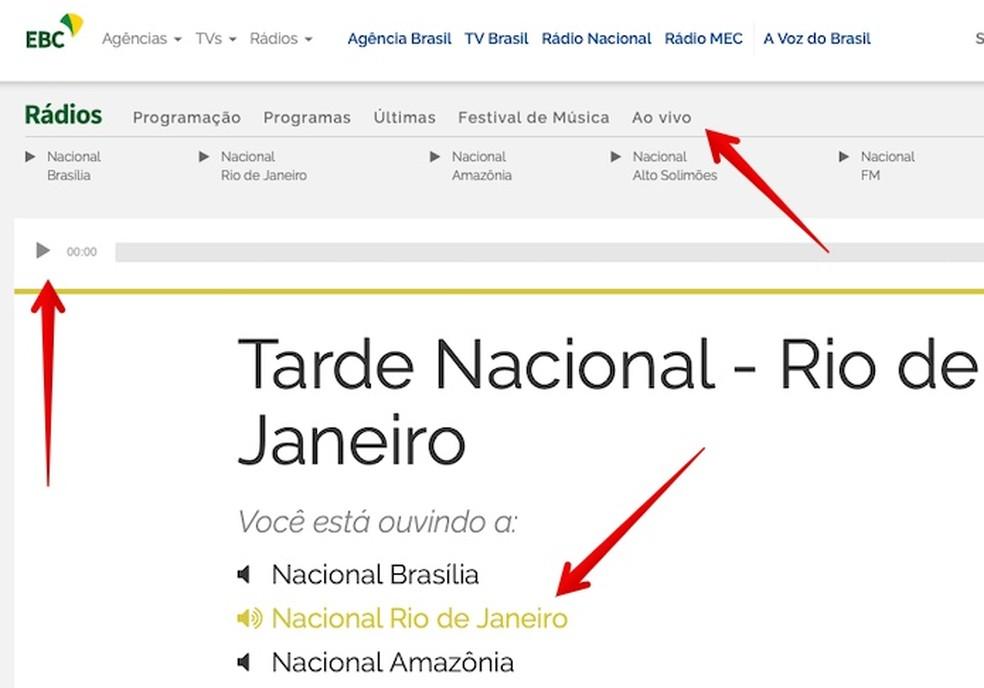 Listening to the live broadcast of Rdio Nacional on the PC Photo: Reproduo / Helito Beggiora