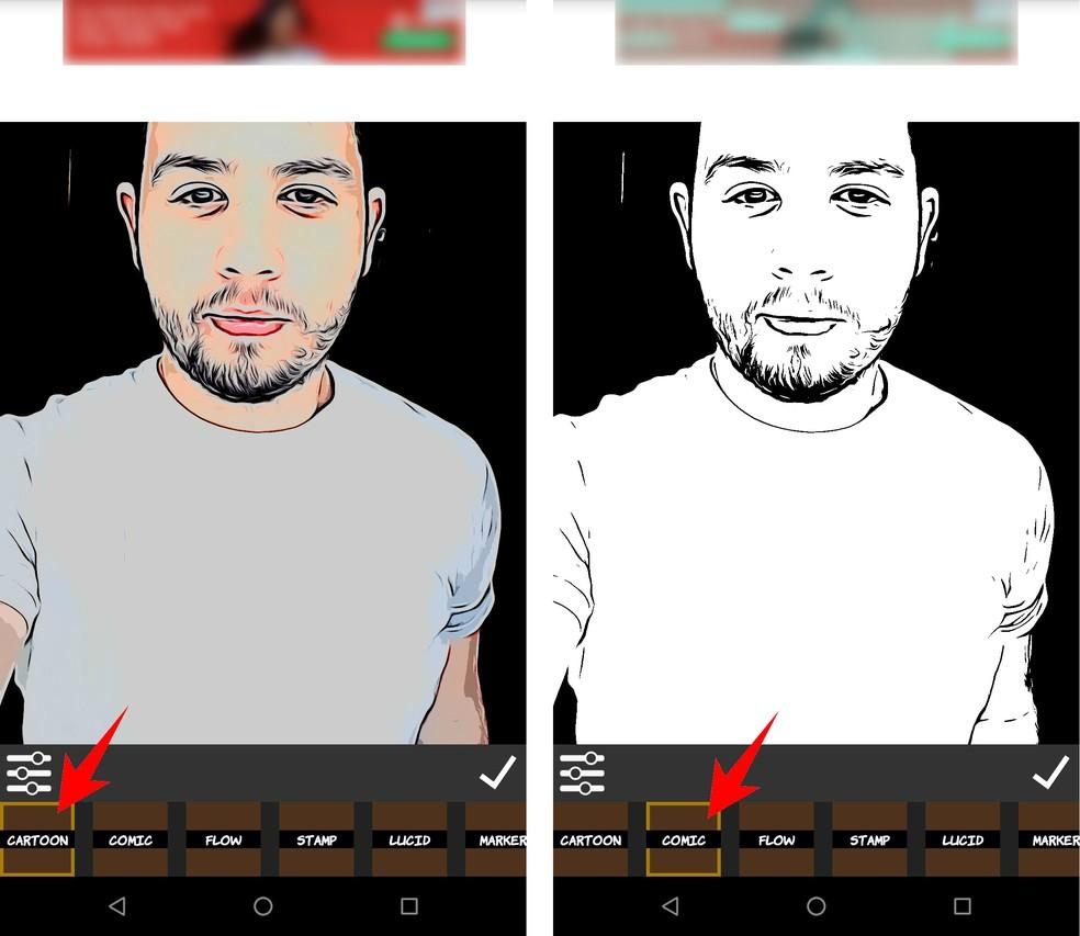 Comica has different filters to transform the photo Photo: Reproduo / Rodrigo Fernandes