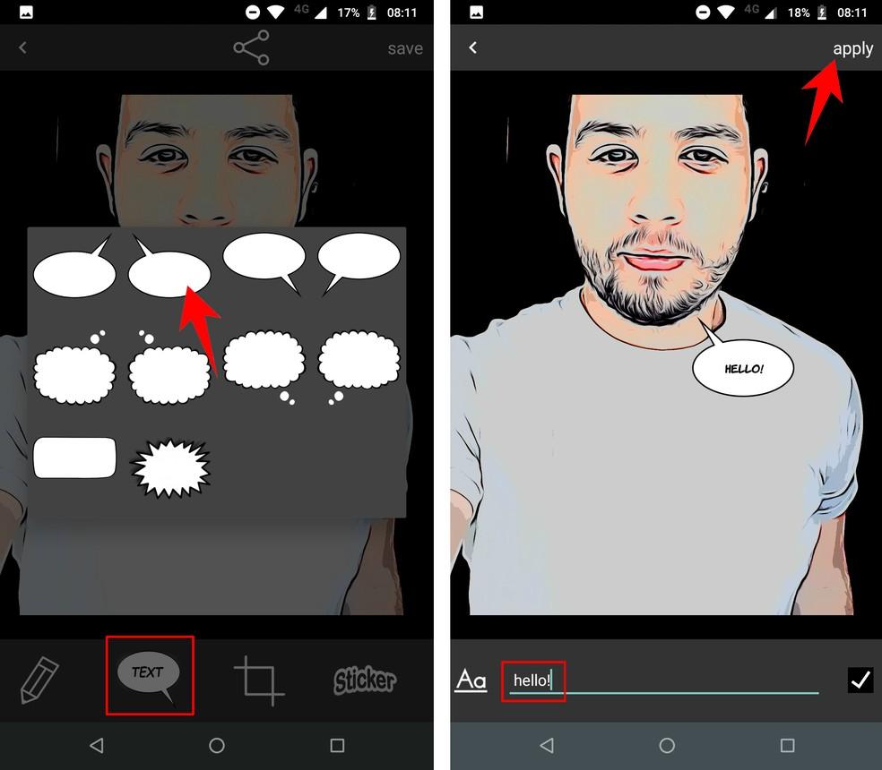 Comica has text balloons to create comic stories Photo: Reproduo / Rodrigo Fernandes