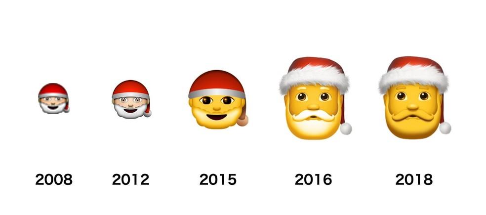 Apple's Santa Claus emoji gained neutral skin color in 2015 Photo: Reproduo / Emojipedia