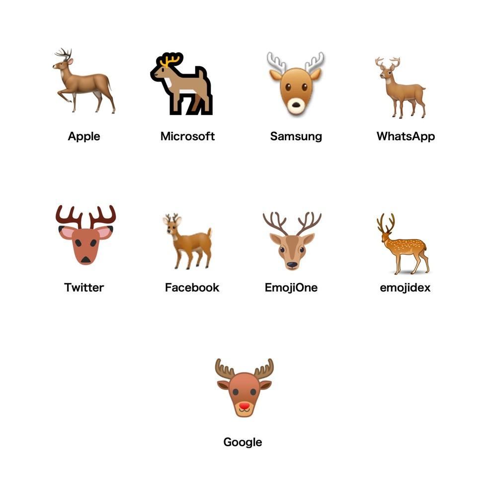 Emojipedia does not differentiate the deer emoji from a Christmas reindeer Photo: Reproduo / Emojipedia