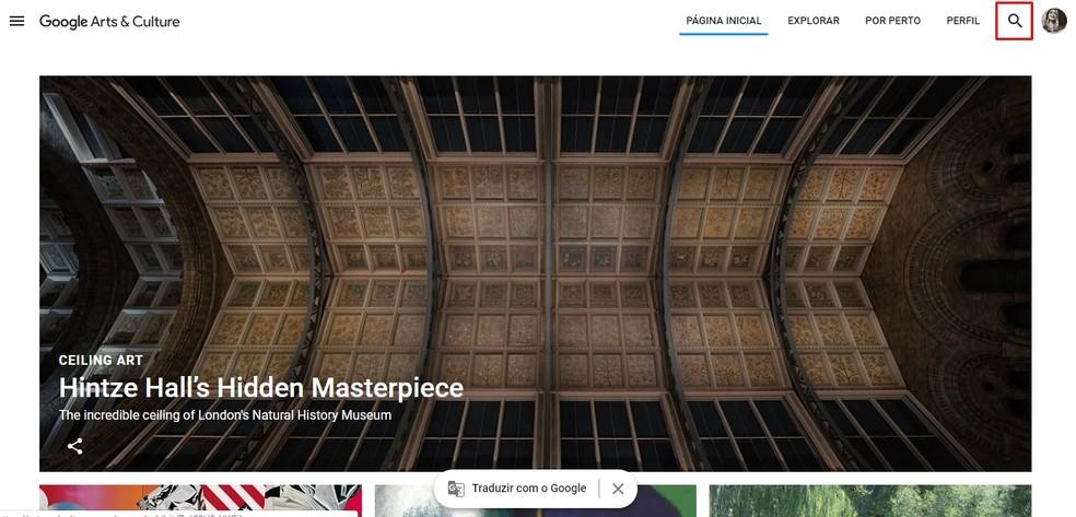 Click on the Google Arts & Culture magnifying glass icon Photo: Reproduo / Taysa Coelho