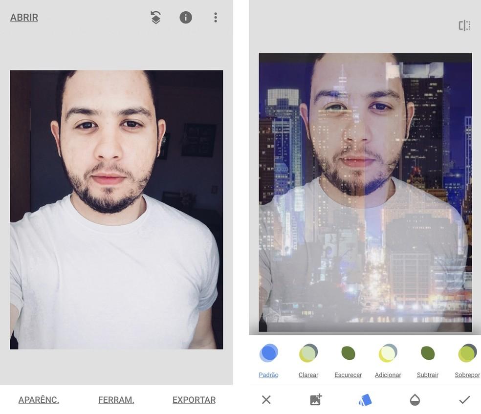 Snapseed overlaps photos and creates a double exposure effect Photo: Reproduo / Rodrigo Fernandes
