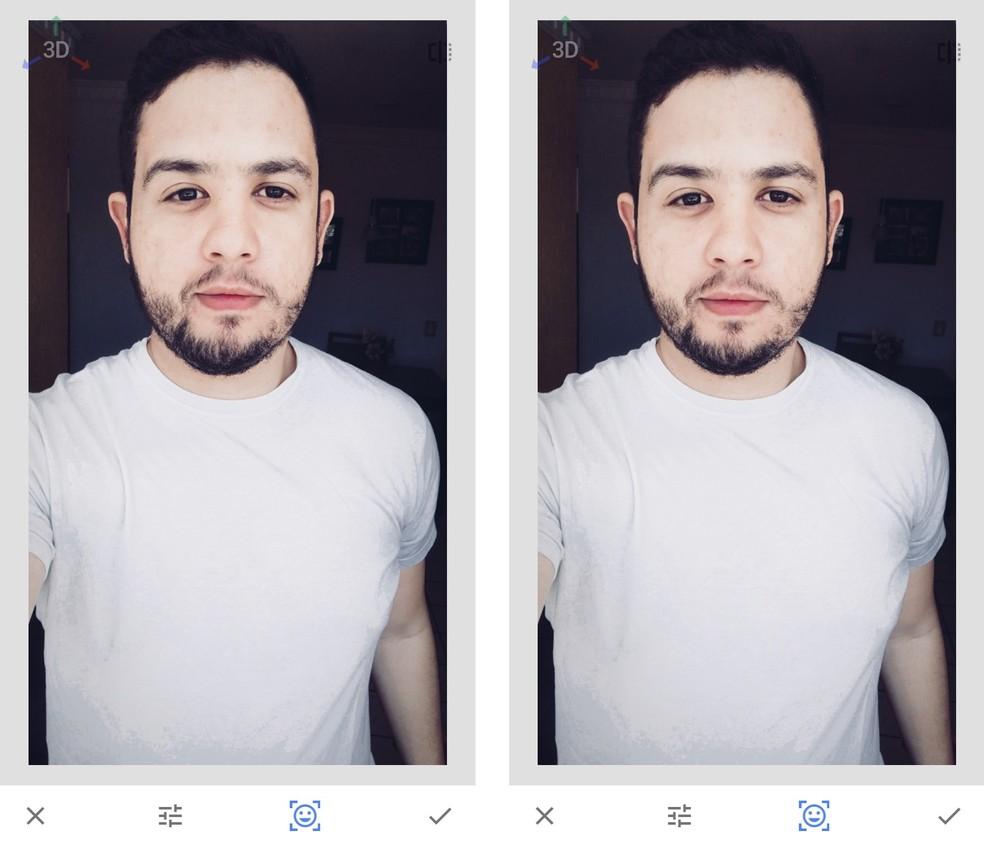 Snapseed corrects face position in photos Photo: Reproduo / Rodrigo Fernandes