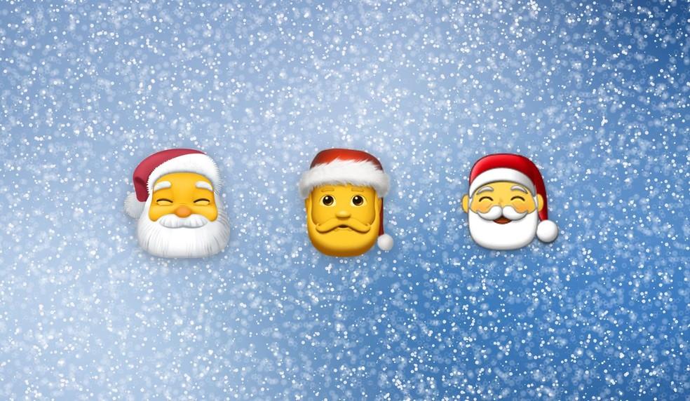 Christmas emojis, like Santa Claus, have undergone transformations over the years Photo: Reproduo / Emojipedia