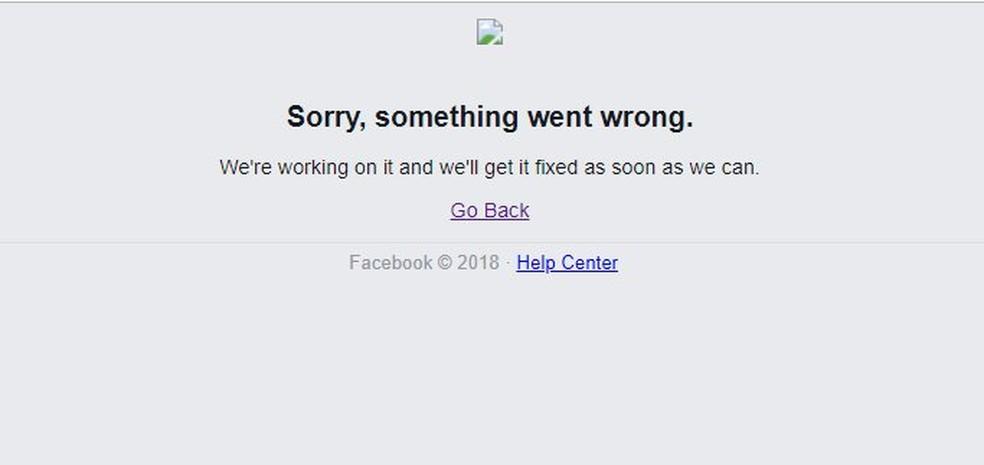Facebook goes down in Brazil Photo: Reproduo / TechTudo