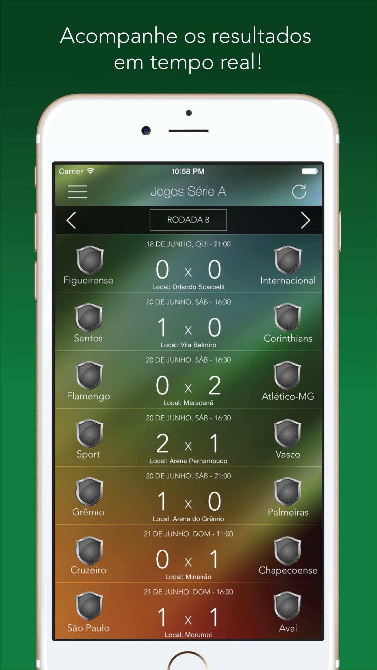 Screenshot of the Brasileirão Pro 2020 Serie A B app