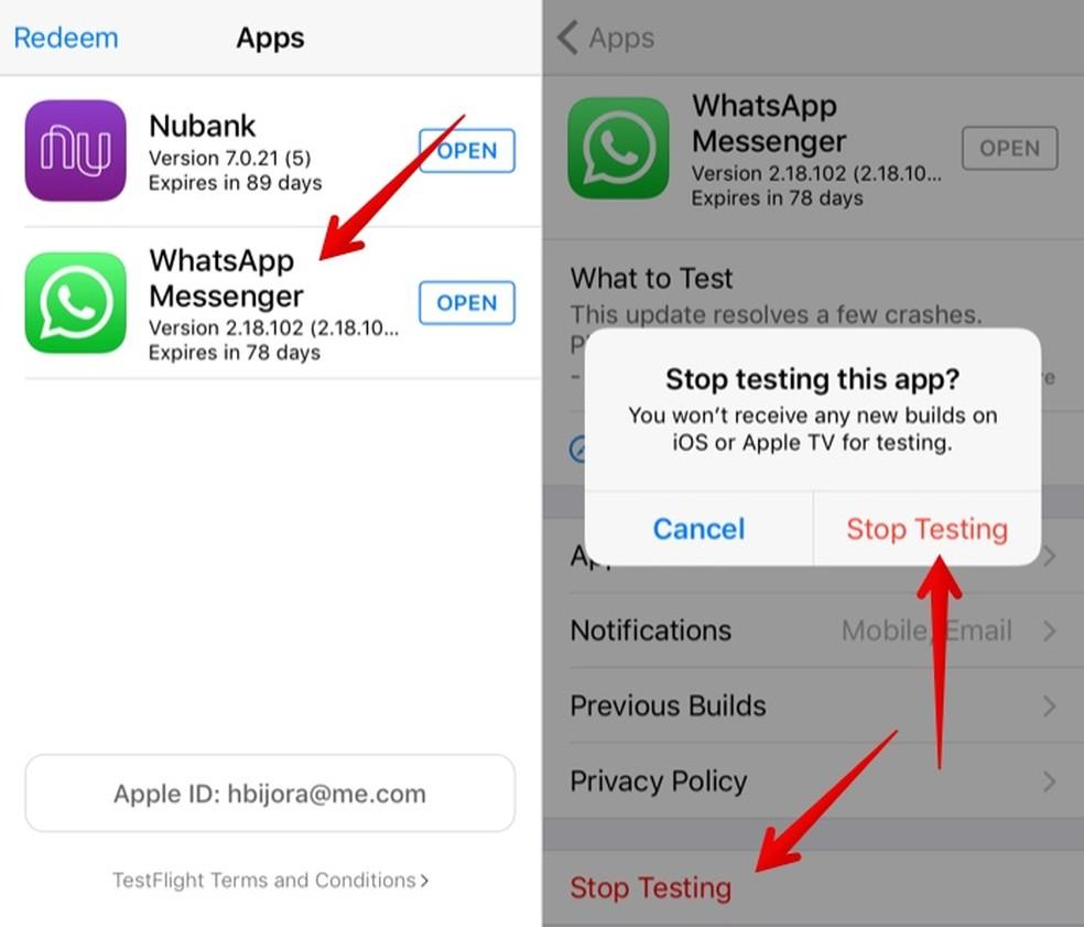 Exit the WhatsApp testing program Photo: Reproduo / Helito Beggiora