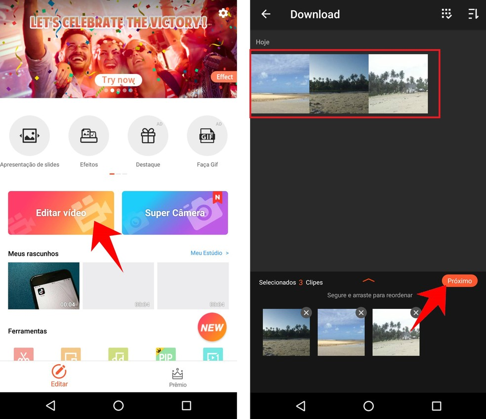 Create a video with photos from your phone using the VideoShow app on Android Photo: Reproduo / Rodrigo Fernandes