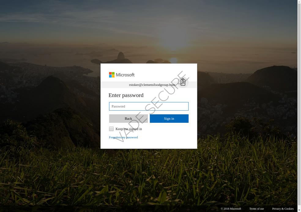 Fake Microsoft Office 365 login screen Photo: Divulgao / Vade Secure