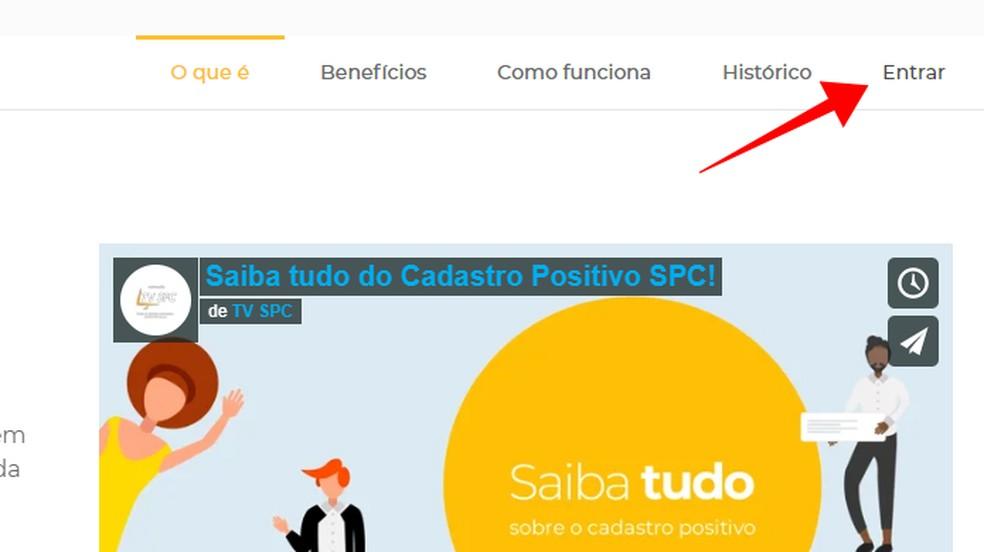 Login to the SPC Brasil website Photo: Reproduo / Paulo Alves