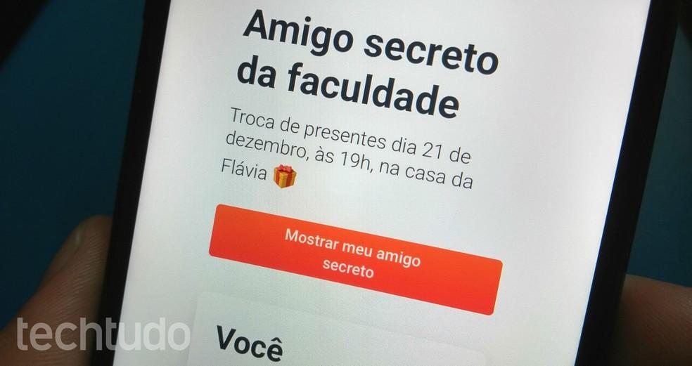 Application Paper draws secret friend by cell phone Photo: Rodrigo Fernandes / TechTudo