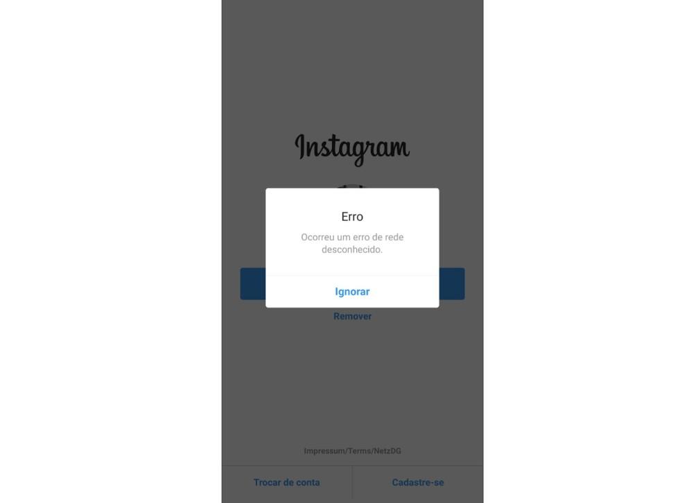 Instagram presents an unknown error on Thursday Photo: Reproduo / Aline Batista